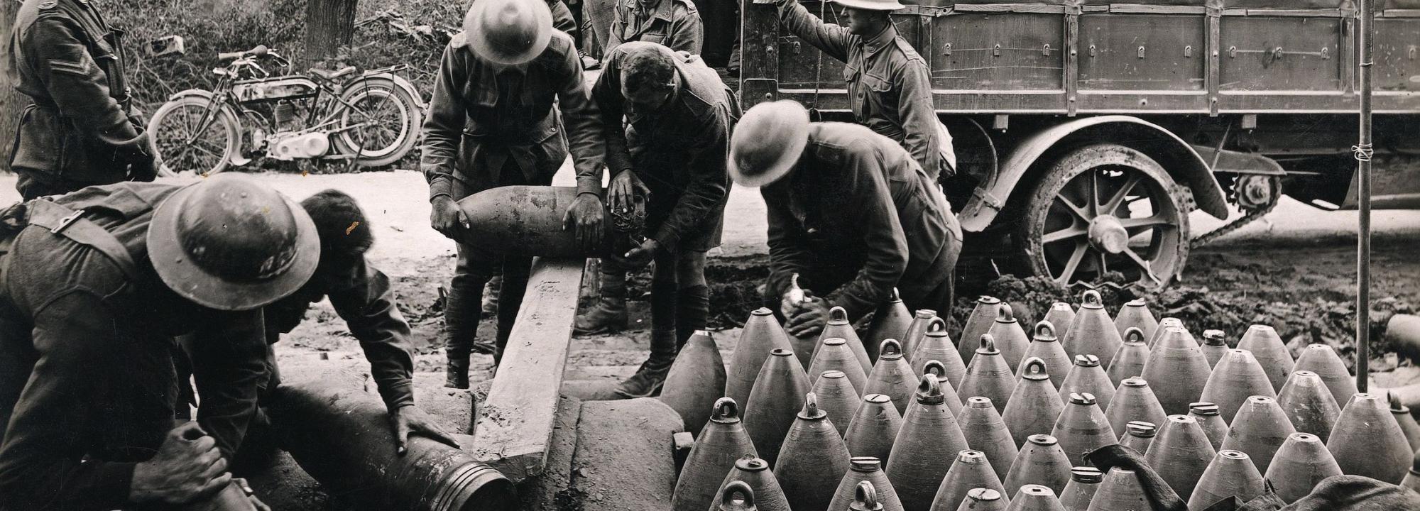 2nd Australian Siege Battery unloading big shells from a motor lorry, Voormezeele, 1917